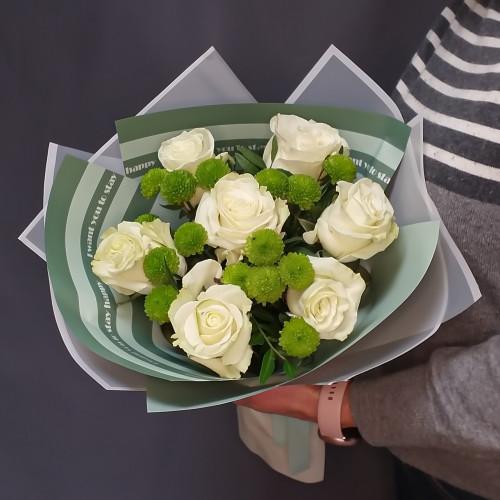 Букет из розы и хризантемы от FlorPresent