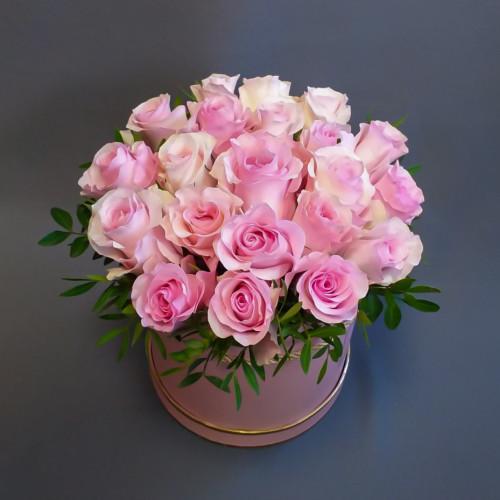 21 роза в шляпной коробке от FlorPresent